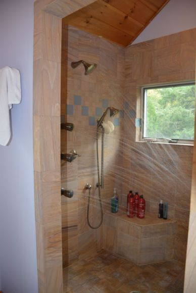 Master Bathroom Shower.  Handicap Accessible With Multiple Shower Heads.